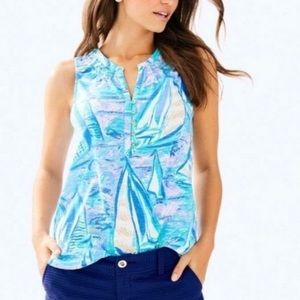 Lilly Pulitzer Essie Top Aboat Time Small EUC